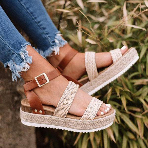 Mokoshoes Aummer Espadrille Buckled Ankle Straps Sandals