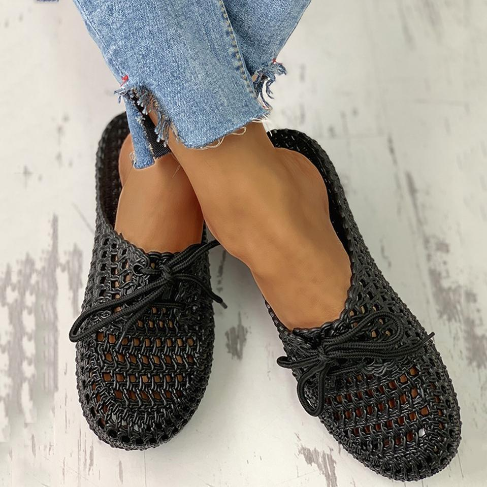 Upawear Hollow Out Lace-Up Slippers For Women