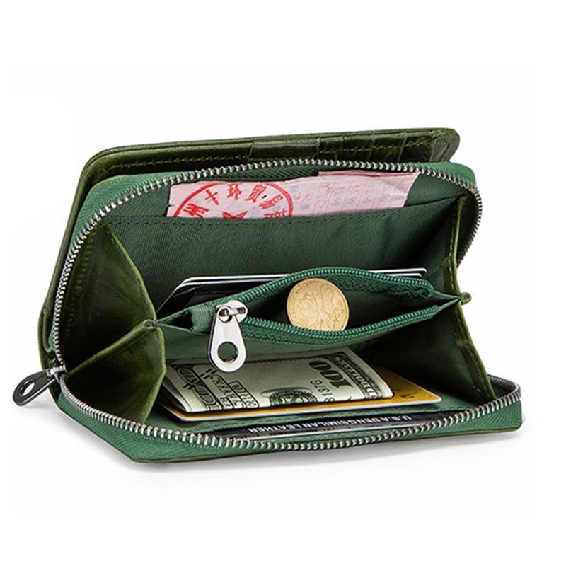 Genuine Leather Two Fold Multi-function Short Wallet