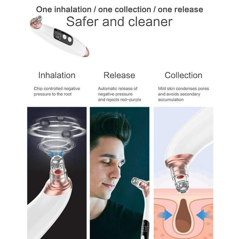 2019 NEW! Electronic LCD Blackhead Remover Vacuum Suction Acne Pore Cleaner with 6 Suckers