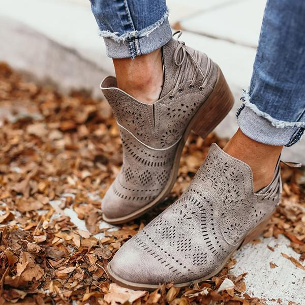 Bonnieshoes Laser Cutout Ankle Booties