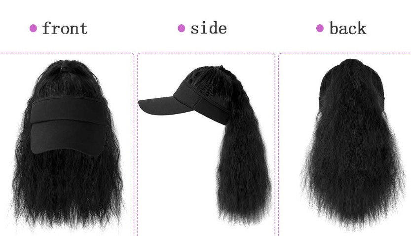 Sun Visor Cap with Ponytail Extensions Kinky Curly Long Hair Piece Adjustable Wig Hat Cotton Caps Hats for Women Summer Ash Blonde