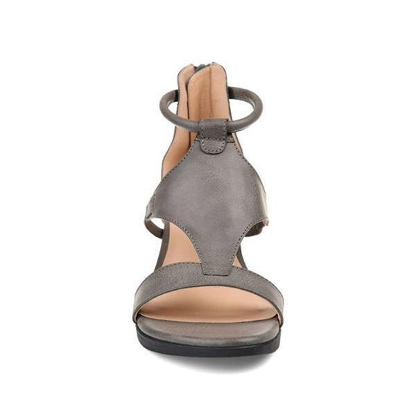 Zoeyootd Women Casual Leather Comfy Wedge Sandals