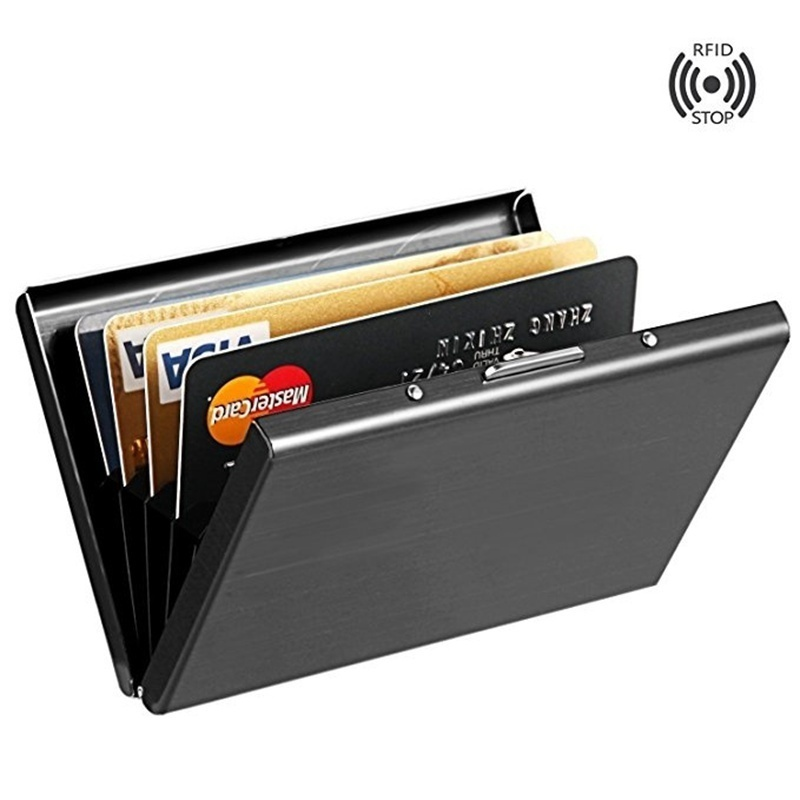 Fashion Anti-scan Stainless Steel Case Slim RFID Blocking Wallet ID Credit Card