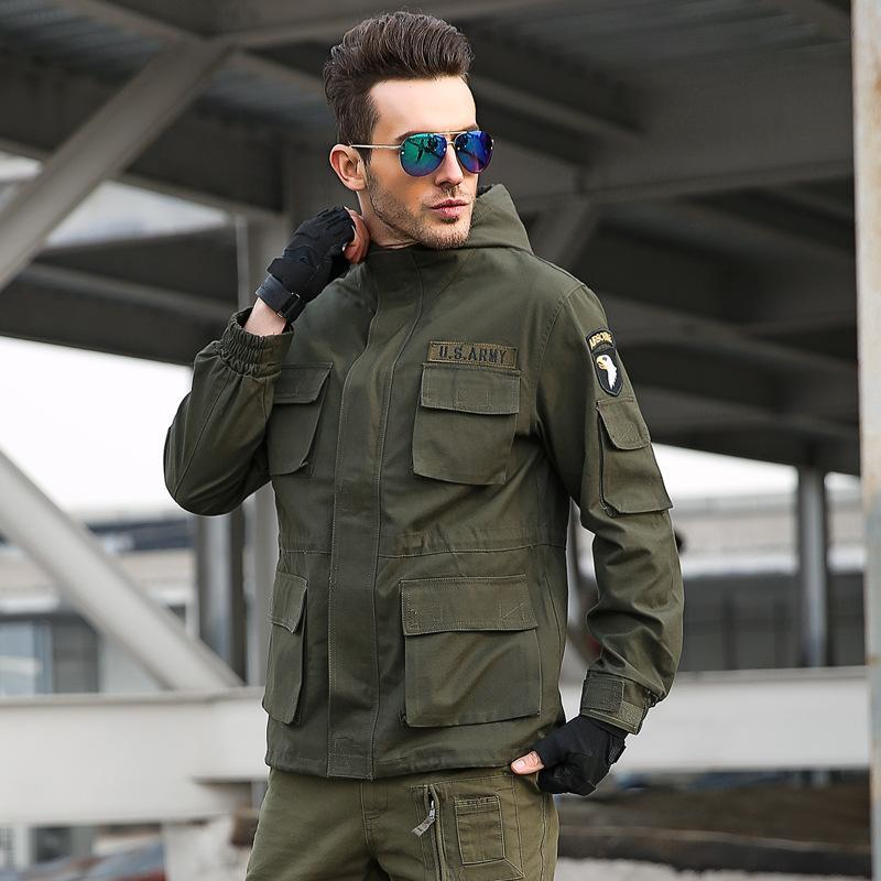 Casual Army Style Fleece Hooded Men Outdoor Jacket