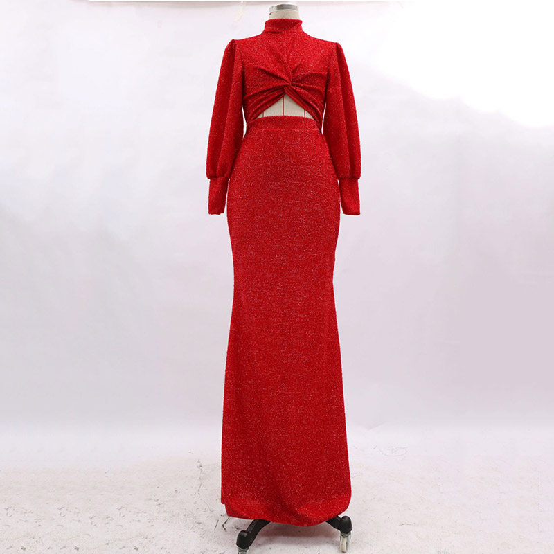 Polyester Stand Collar Polyester Evening Dresses