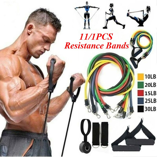 11/1PCS Indoor Fitness Elastic Rope Resistance Bands Yoga Exercise Fitness Band Rubber Loop Tube Bands with Ankle Straps,handles,door Anchor and Carrying Bag