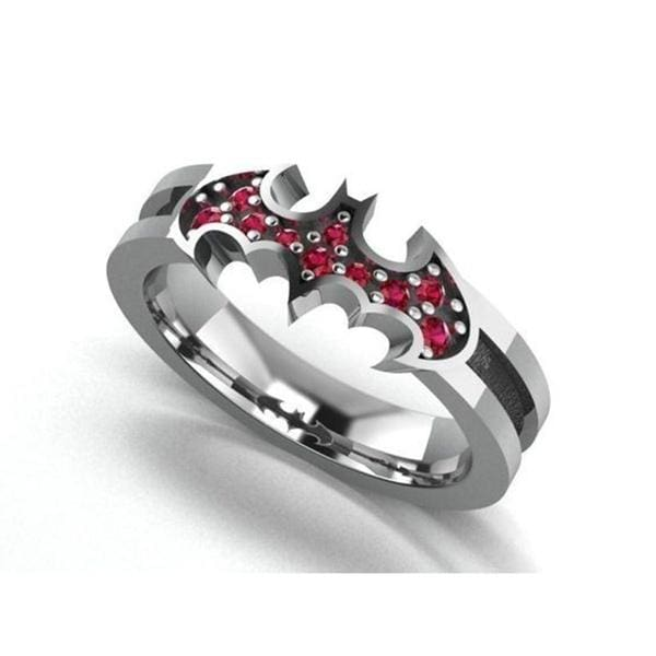 New Unique Creative Batman Halloween Jewelry 925 Sterling Silver Inlaid Red Diamond Ring Batman Ring Bride Geek Engagement Wedding Ring Anniversary Halloween Thanksgiving Gift Jewelry Size US5-11