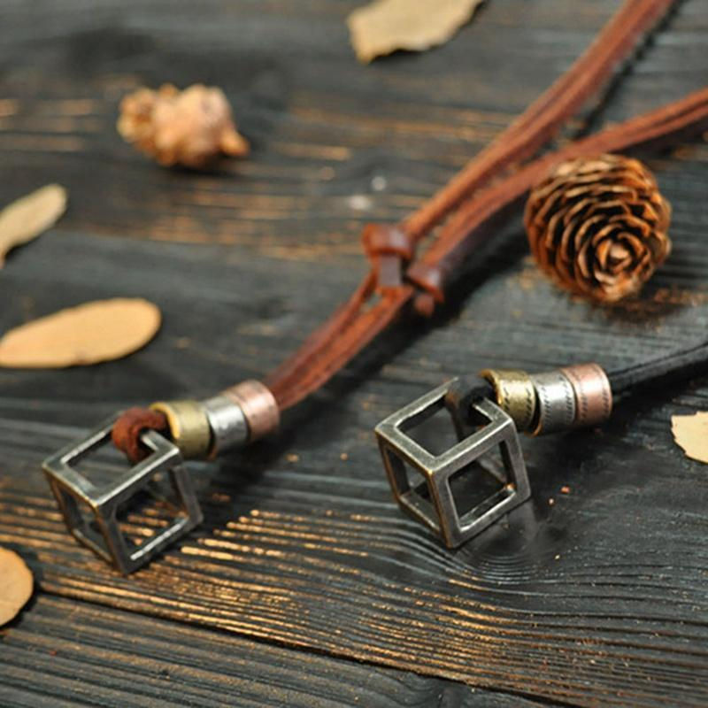 Hollowed-out Leather String Necklace