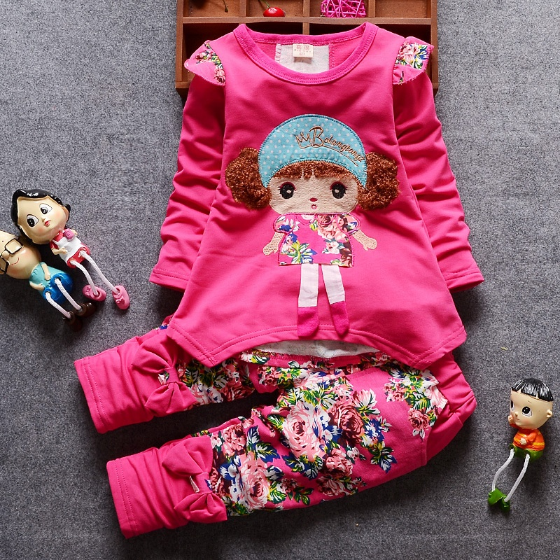 2Pcs NEW Lovely Kids Girls Spring and Autumn Clothes Suit Baby Girls Long Sleeved Tops+ Pants Children Girl Outfits Set for Aged 0-4 Year