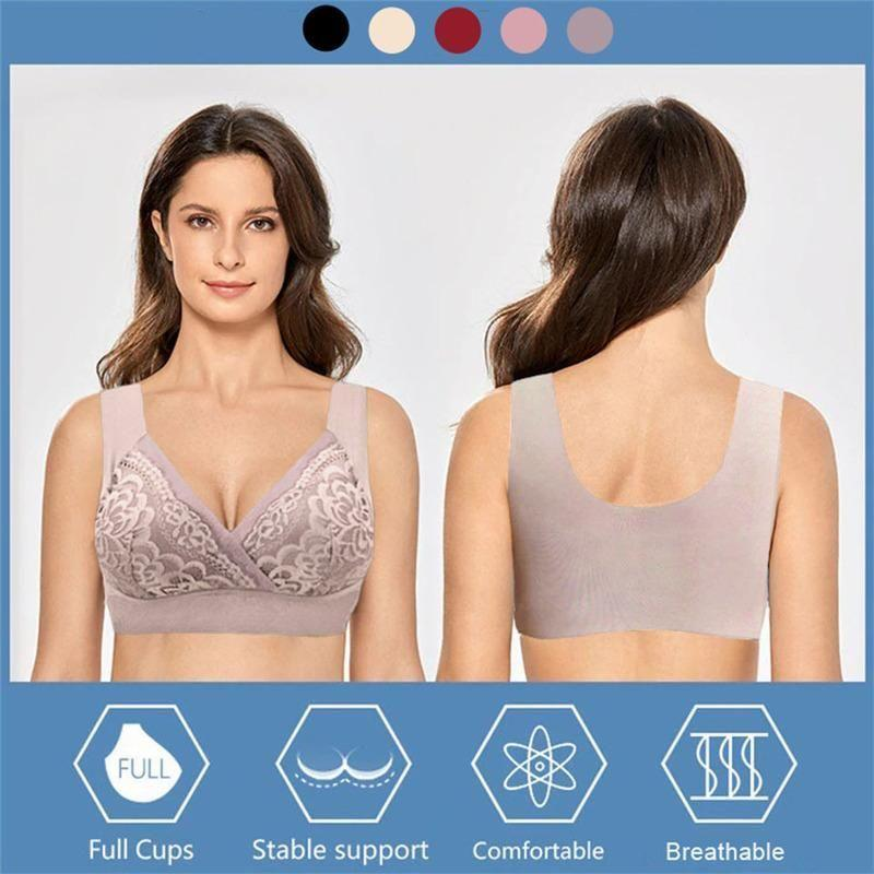 Plus Size Comfort Extra Elastic Wireless Support Lace Bra