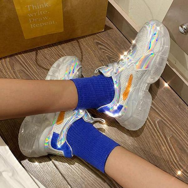 Mokoshoes Crystal Thick Bottom Women's Leisure Sneakers