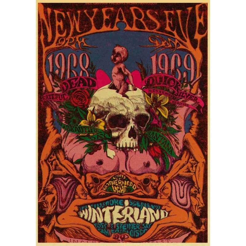 Rock Music Grateful Dead retro posters kraft wall paper High Quality Painting For Home Decor wall stickers