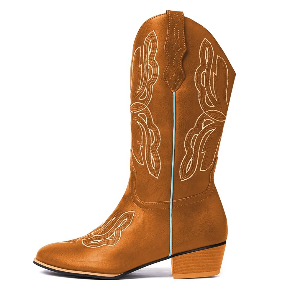 Women's Square Head Embroidered Long Riding Boots Western Boots