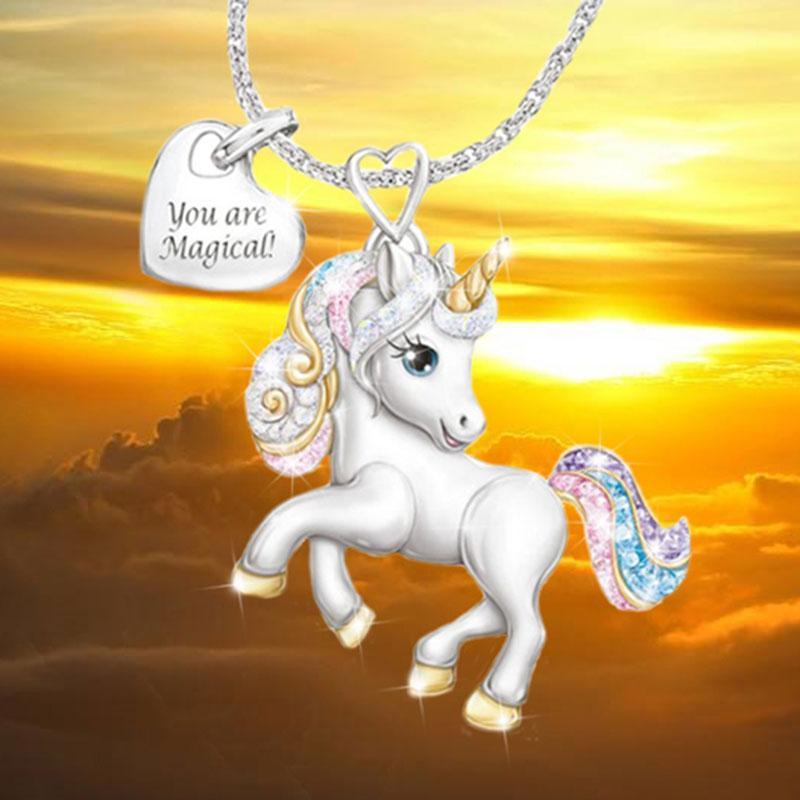 【🎄Christmas surprise🌈】Unicorn necklace and Unicorn ring with gift box greeting card set