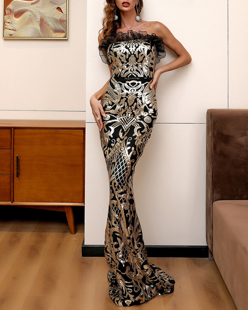Tube Top And Shoulder Sequined Fish Tail Evening Dress