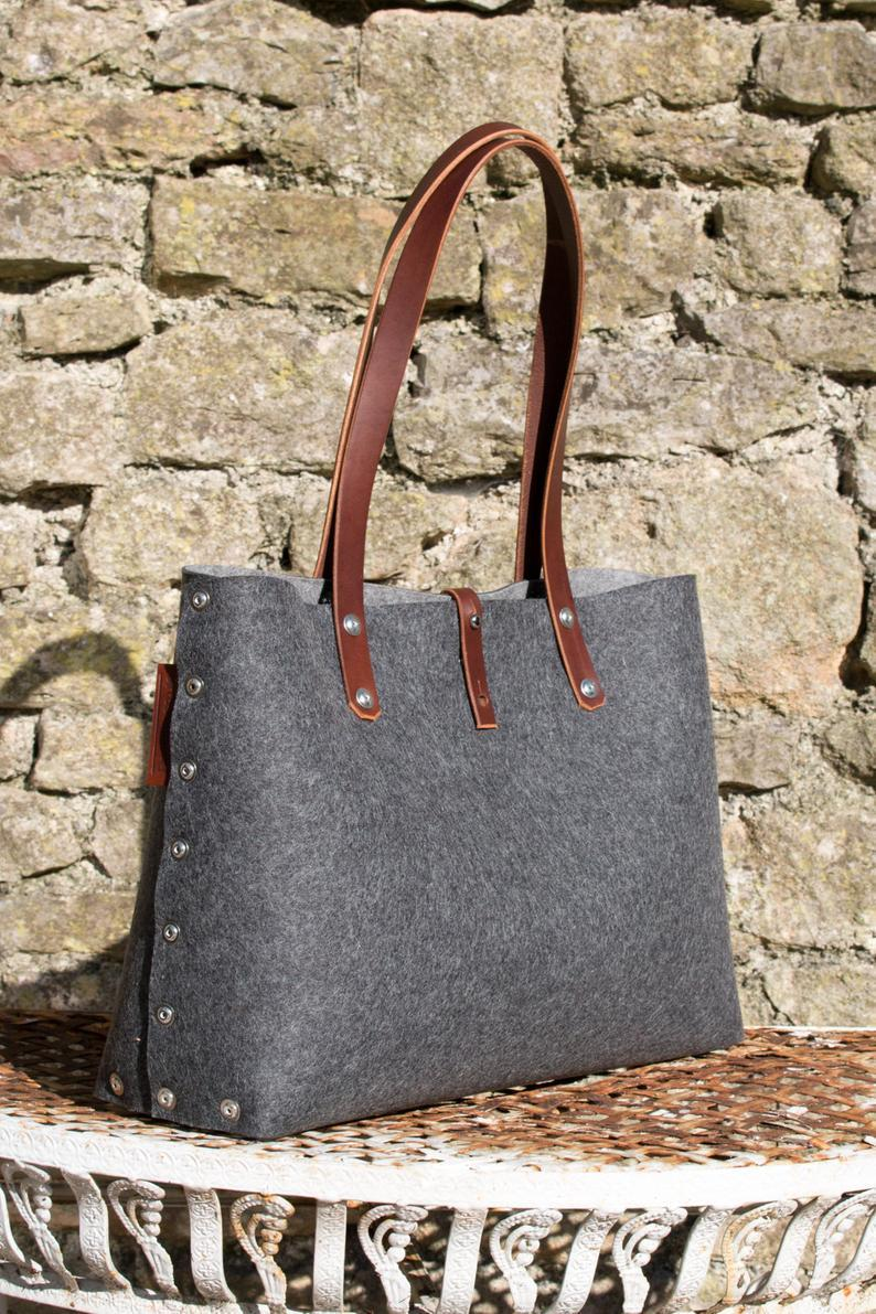 Felt Shoulder Bag, wool felt handbag for women. leather and felt purse for every day bag.        Update your settings