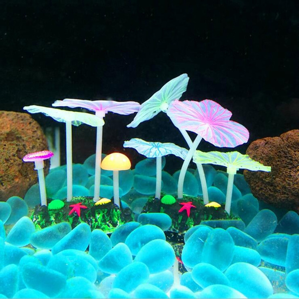 Aquariums Accessories Fluorescent Artificial Coral Reef Glowing Lotus Leaf Mushroom Luminous Stones Fish Tank Decoration