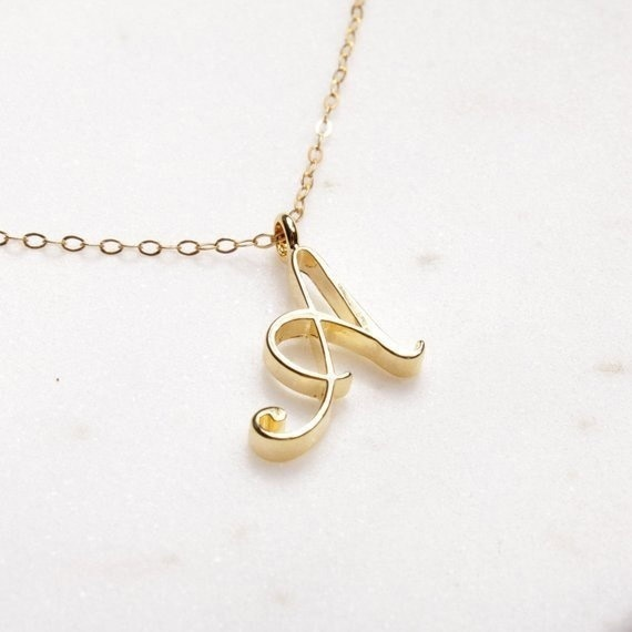 26 Letter Name Necklace Alphabet Initial Necklace Cursive Letter Necklace Gold Silver Personalized Bridesmaid Gift Wedding Minimalist Bridal Party Mothers Day Gifts