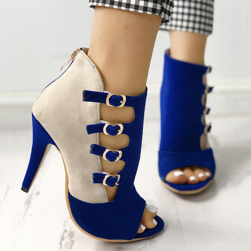 Bonnieshoes Hollow Out Buckled High Heels