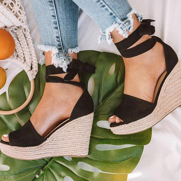 Zoeyootd Espadrille Lace Up Wedge Braided Sandals