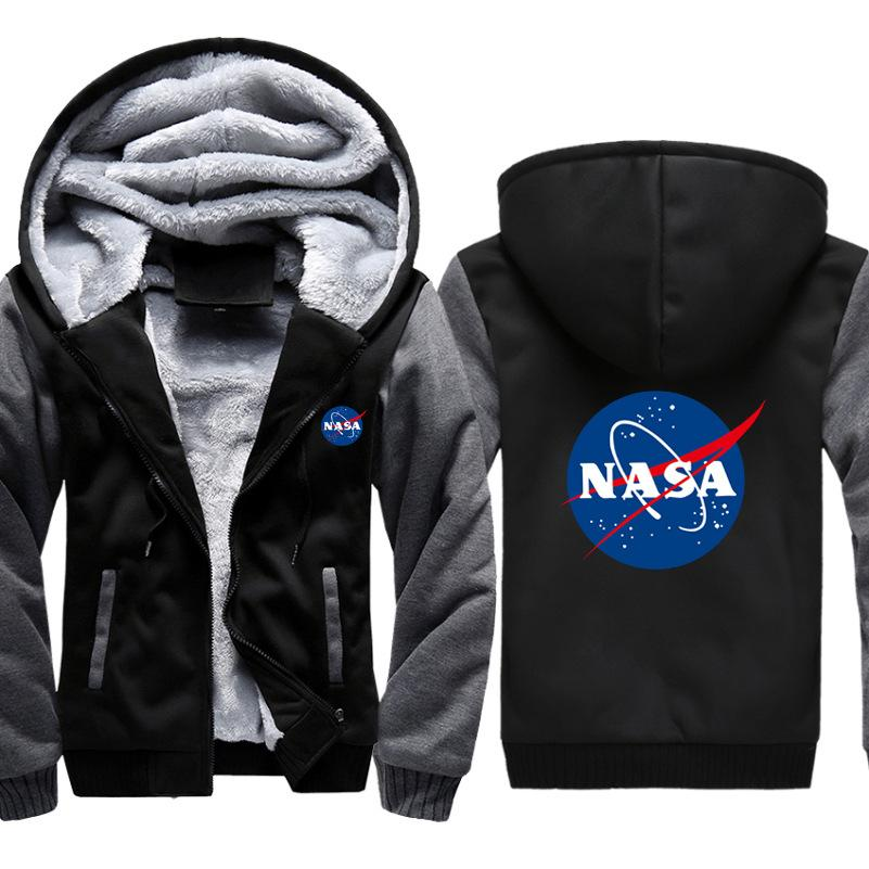 Nasa Letter Printed Patchwork Hooded Coats