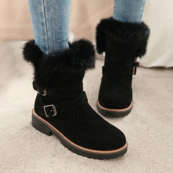 Bonnieshoes Round Toe Chunky Double Buckle Ankle Boots