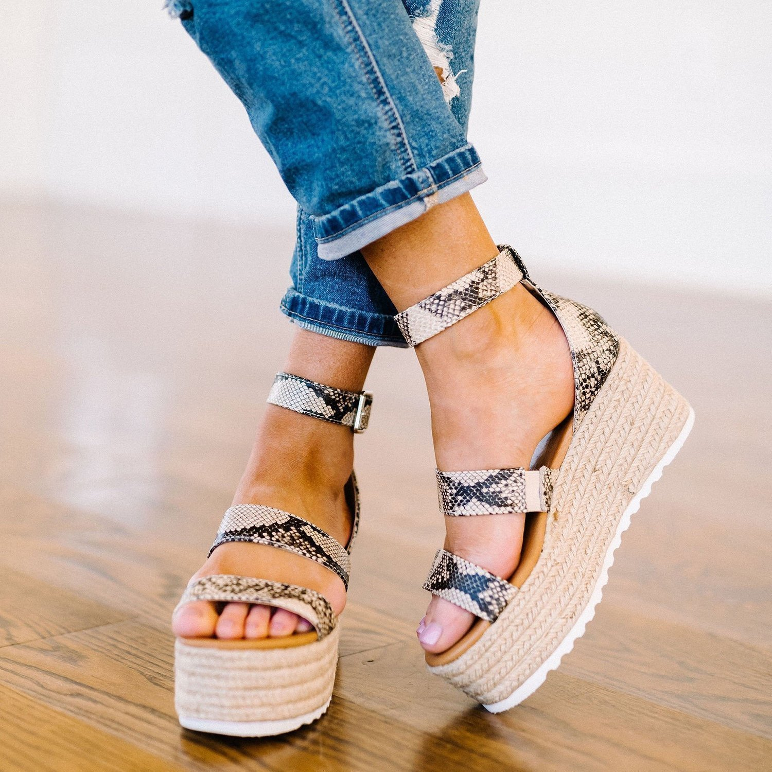 Mokoshoes Espadrille Open Toe Ankle Strap Platform Sandals (Ship in 24 Hours)