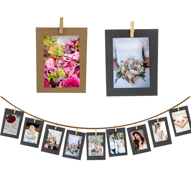 10PCS/Lot DIY Photo Frame Wooden Clip Paper Picture Holder For Wedding Baby Shower Birthday Party