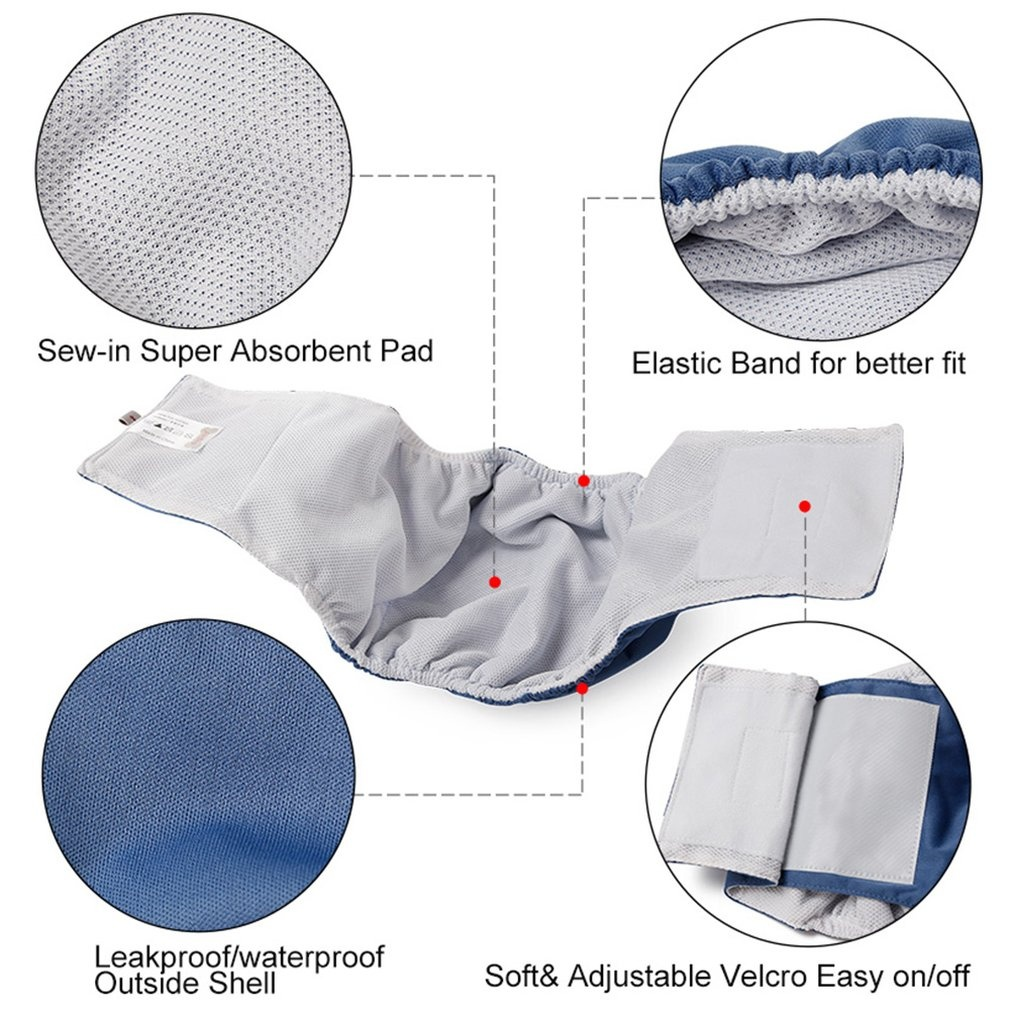 Washable Male Dog Belly Band Wrap Waterproof Outside Shell Male Pet Diapers
