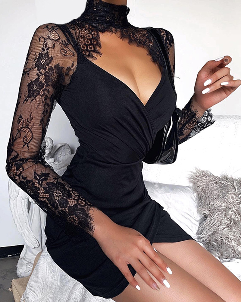 Lace Stitching Long-sleeved Casual Party Dress