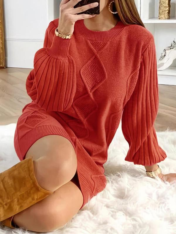Bonnieshoes Solid Round Neck Casual Long Sweater Dress