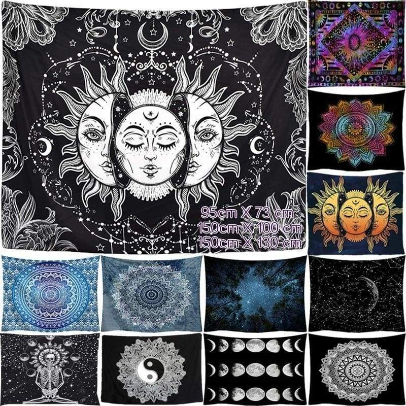 Black and White Printed Lotus Tapestry Bohemia Mandala Tapestry Wall Hanging Wall Decoration Hippie Tapestry Beach 12 Styles To Choose (95cm X 73 Cm / 150cm X 100 Cm / 150cm X 130 Cm )
