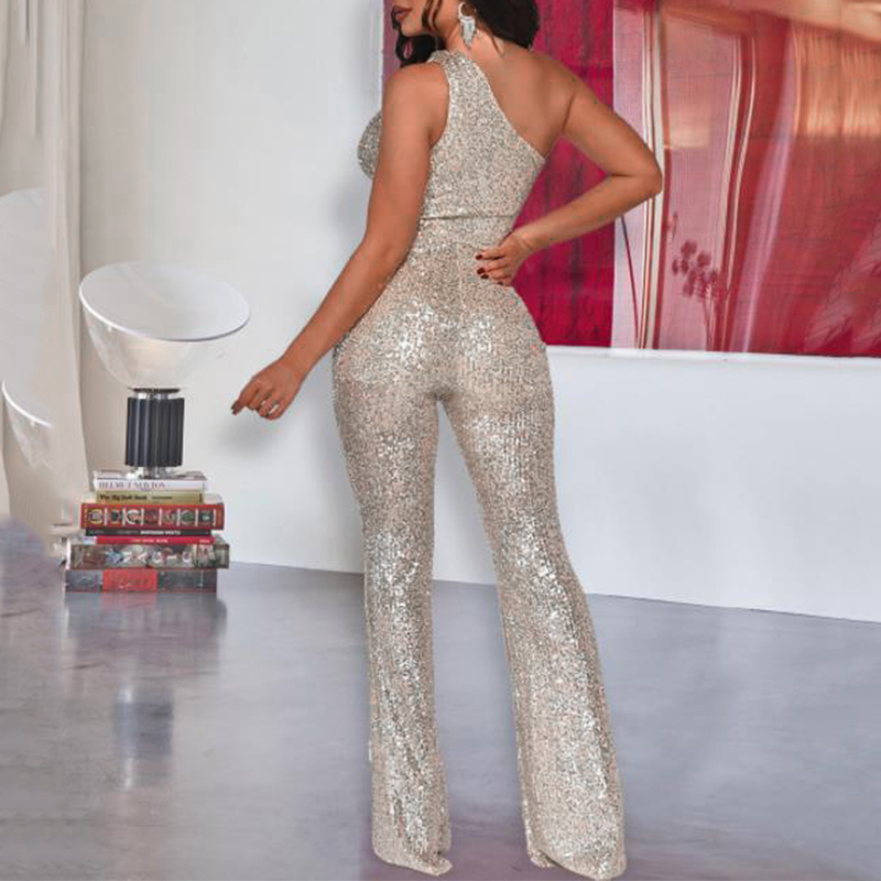 Fashion Sexy One Shoulder Sequin Jumpsuit