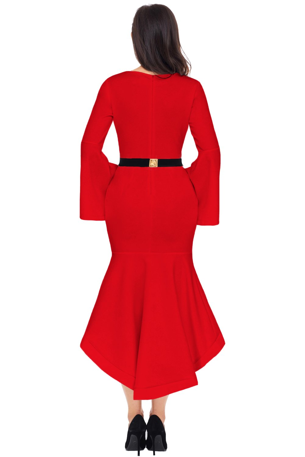 Women Clothing Designers The Best Red Bell Sleeve Dip Hem Belted Dress