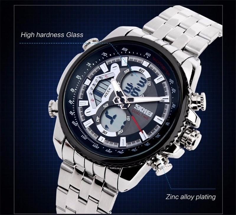 Skmei Men's Brand Business Casual Fashion Steel Band Multifunction Electronic Stainless Steel Quartz Waterproof Watch