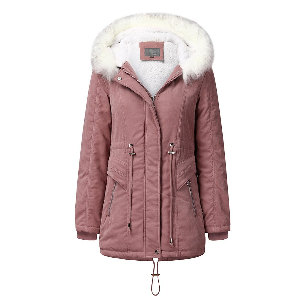Women's fur collar hooded cotton coat winter warm parka