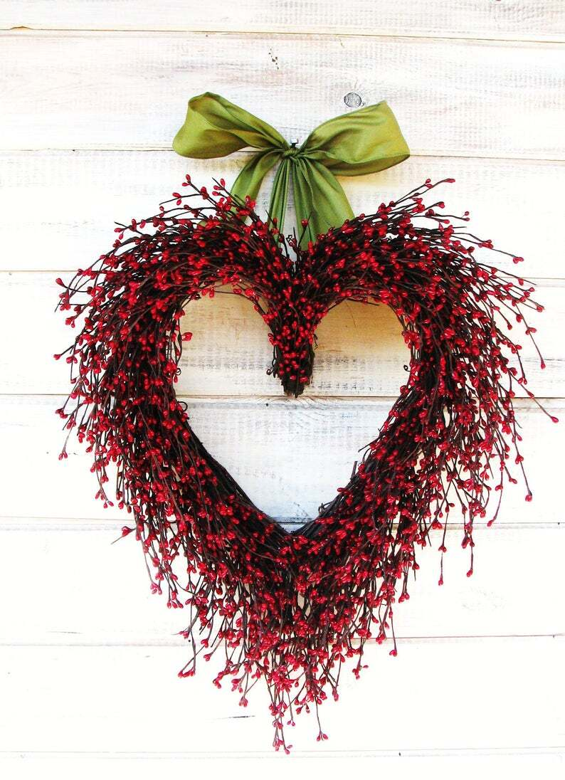 Valentine Wreath-Wedding Decor-Wedding Heart Wreath-Mothers Day Gift-Red Heart Wreath-Weddings-Gift for Mom-Say I LOVE YOU-Wedding Gift