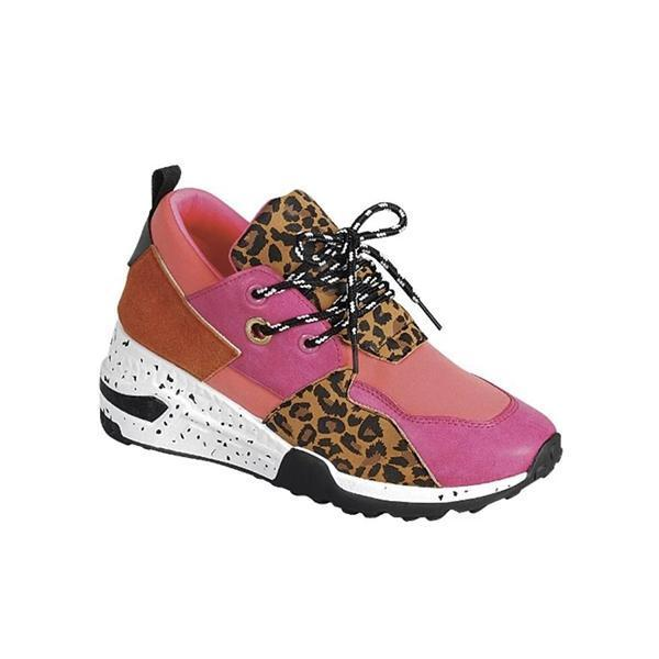 Twinklemoda Leopard Panel Lace Up Sneakers