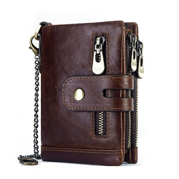 Genuine Leather Anti-theft RFID Wallet With Chain