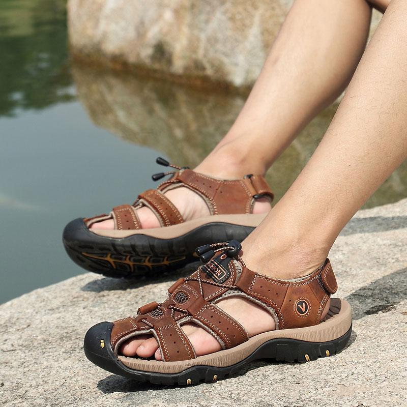 Men's Leather Outdoor Casual Beach Sandals