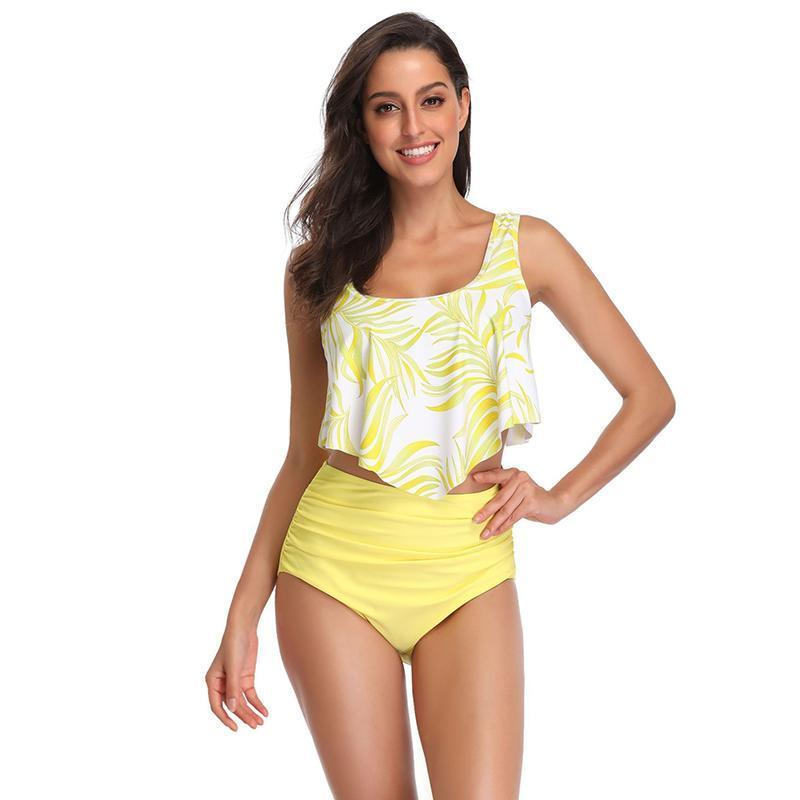 Women Floral High Waisted Two Piece Swimsuits