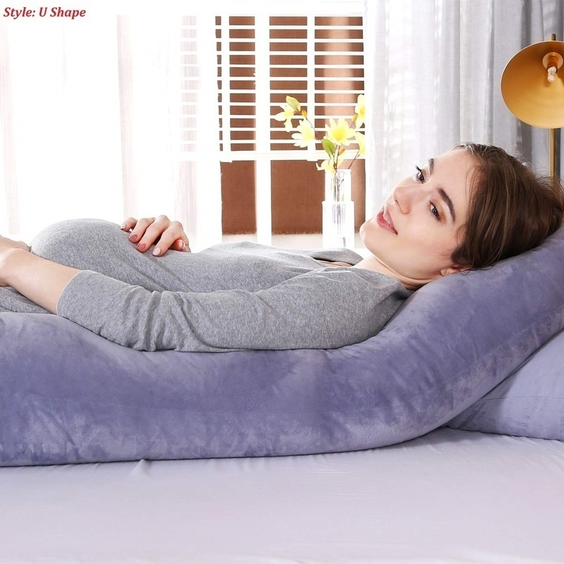 2020 New Fashion 5 Colors 125x72cm/49.2x28.3inch U Shape Body Maternity Pregnancy Pillow with Zipper Removable Cover Soft Cotton Material Pillowcase