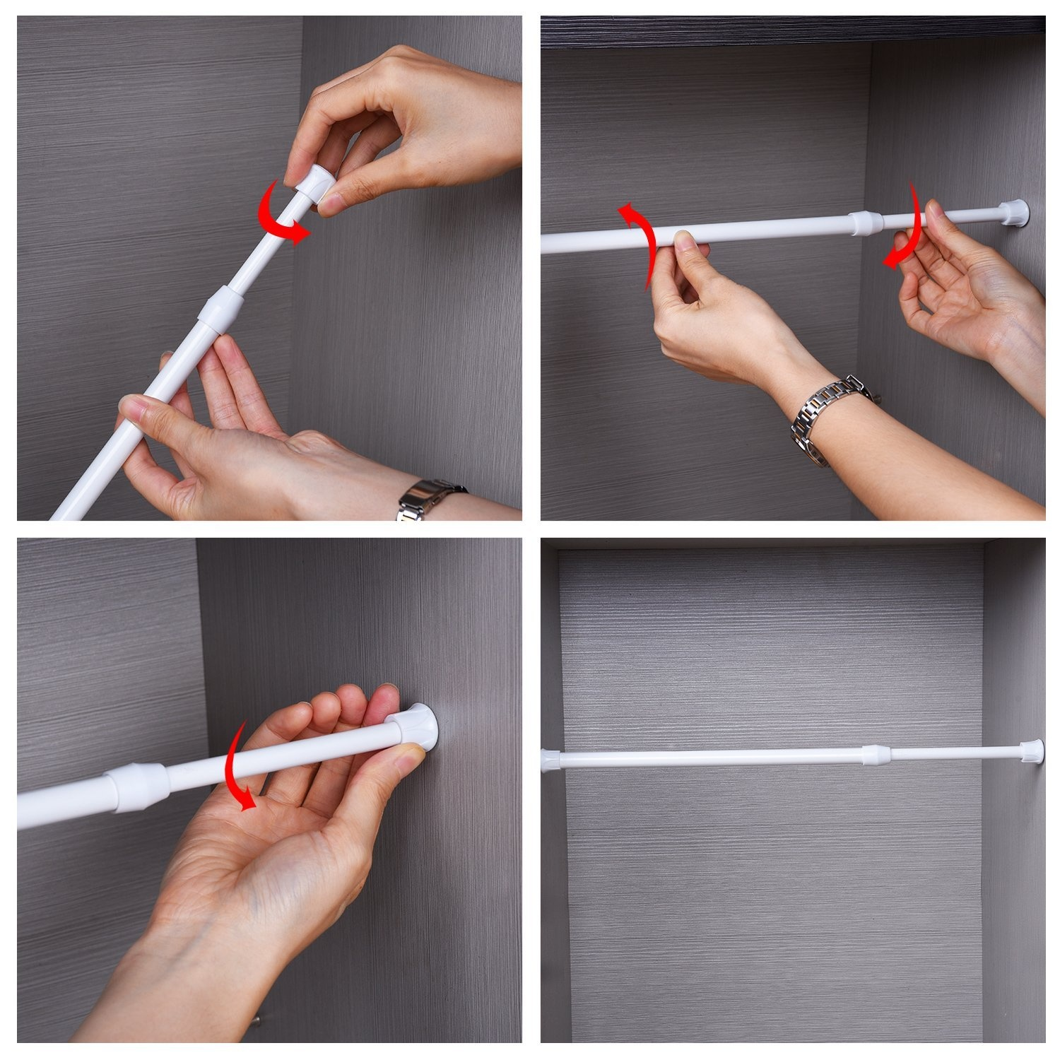 4 Size Extendable Spring Telescopic Net Voile Tension Curtain Curtain Rail Loaded Shower Pole Rod