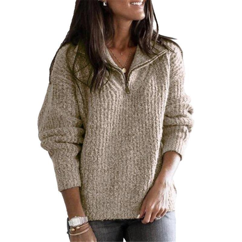 Trendy pullover lapel loose sweater