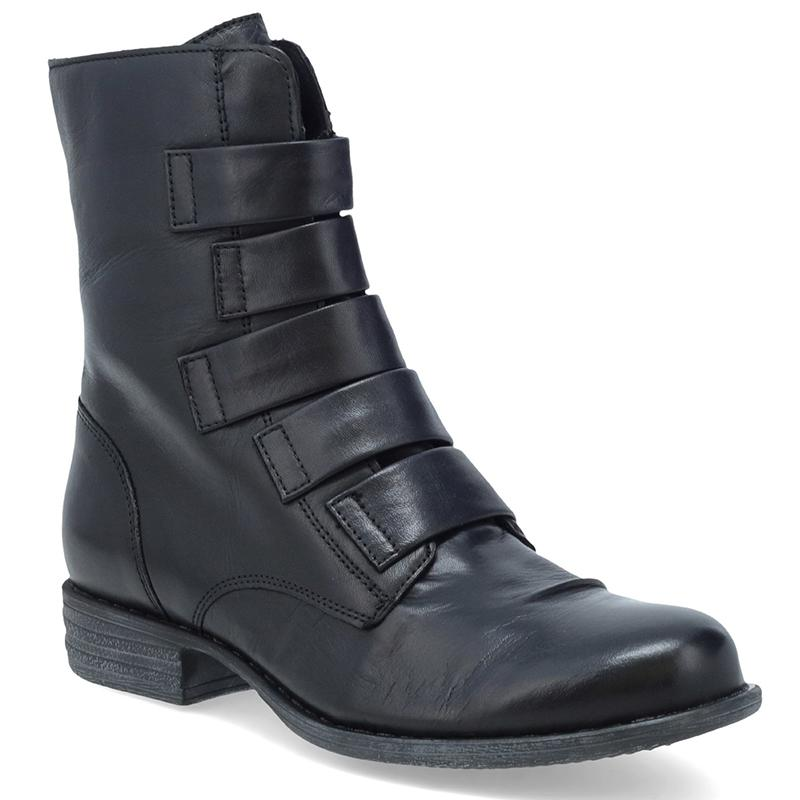 Women Trendy Strap Upper Solid Color Zipper Ankle Boots