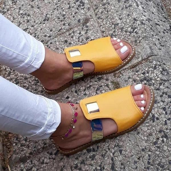 Zoeyootd Casual Mixed Color Flat Slippers