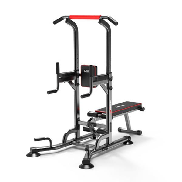 Power Tower Dip Station Pull Up Bar Strength Training  Home Gym Parallel Bars With Dumbbell Bench