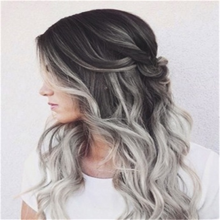 ✨New Sale 40% OFF ✨Mid-point Off-white Highlights Gradient Long Curly Hair