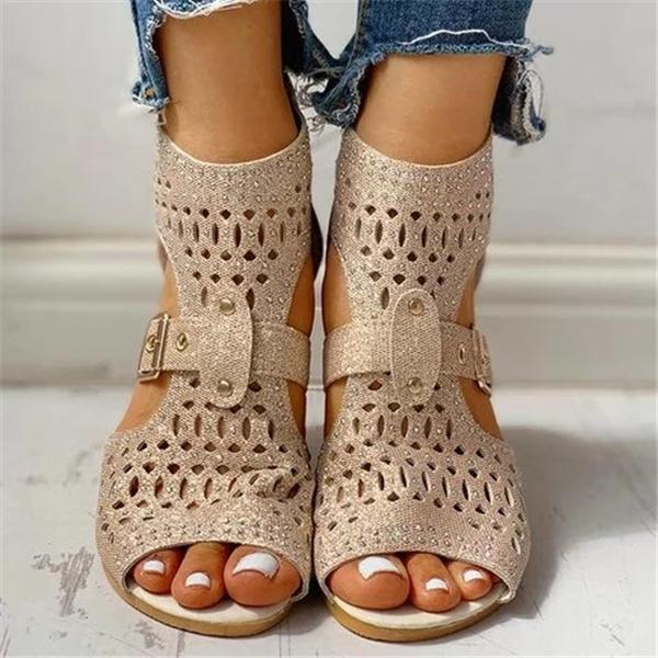 Faddishshoes Studded Hollow Out Peep Toe Buckled Sandals